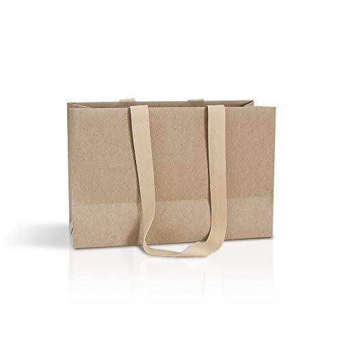 bolsas ecológicas 10 bolsas de papel kraft con asas de cinta de algodón marrón 32 x 21...