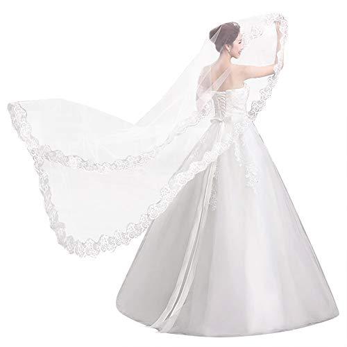 Velo nupcial con encaje en el borde Velo de novia Largo 5 metros Elegante, hermoso, blanco...