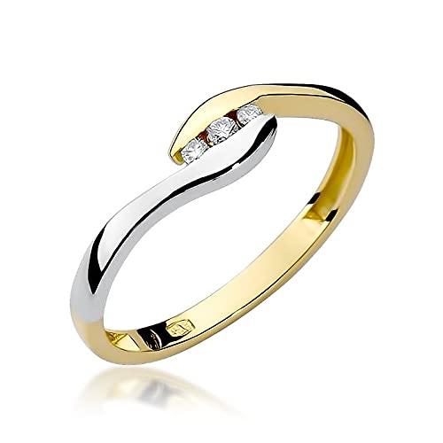 Anillo de compromiso para mujer, oro 585 de 14 quilates, diamantes naturales y brillantes,...