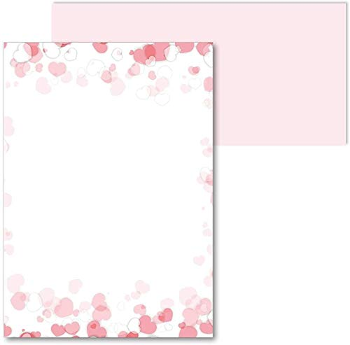 Juego de papel de carta romántico | membretes de carta con sobre | 50 hojas en DIN A4 |...