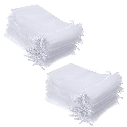 Delsen - 100 bolsas grandes de organza, con cordón de satén, 13 x 18 cm. Sirven como...