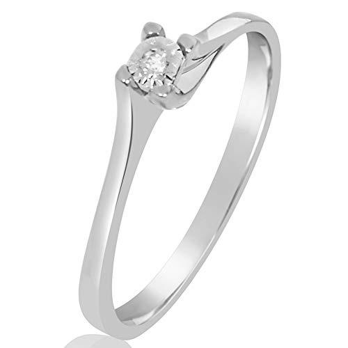 MILLE AMORI ∞ Anillo Mujer Compromiso Oro y Diamantes - Oro Blanco 9 Kt 375 ∞...