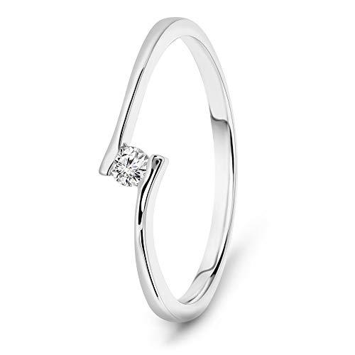 Miore anillo de compromiso mujer con diamante brillante de 0.05 quilates en oro blanco de...