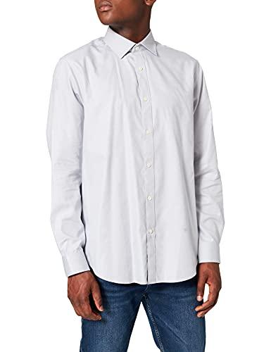 Marca Amazon - find. Camisa Formal Entallada de Sarga de Vestir Hombre, Gris (Grey), 45...