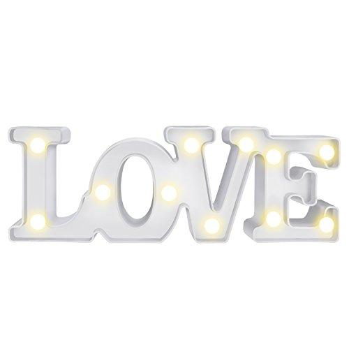 LOVE Lámpara de Mesa,WolinTek Love con Luces LED Lámpara de Tabla Lámpara de Noche...