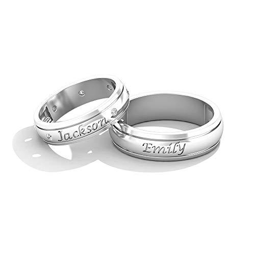 IGI Certified Diamond - Alianza de boda con nombre clásico grabado de oro, HI-SI Color...