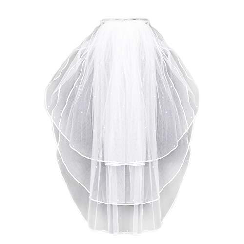 Haptian 3 Capas Mujeres Nupcial Blanco Boda Tul Velo Borde de la Cinta Perla de imitación...