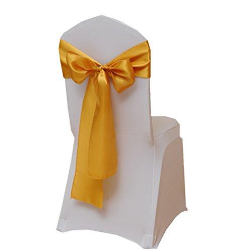 Fvstar 25 cintas doradas para sillas de boda de satén, lazos para sillas de fiesta,...