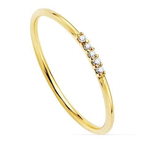 Anillo Oro Amarillo 18K Diamantes 0.025 Qts. Media Alianza Elegante