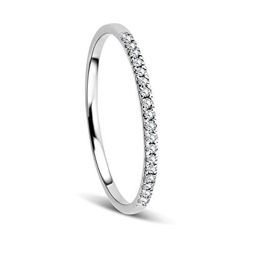 Orovi Anillo Señora compromiso/aniversario en Oro Blanco con Diamantes Talla Brillante...