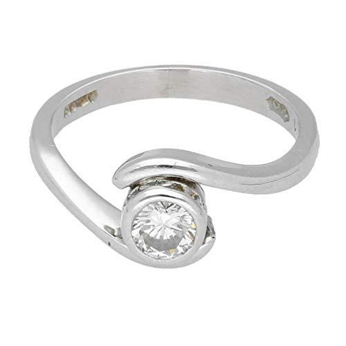 Anillo para mujer, platino de 0,59 quilates con bisel de diamante cruzado, talla L, cabeza...