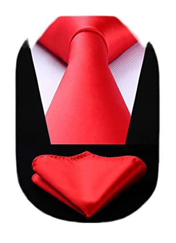 HISDERN Corbatas Rojas para Hombre Corbata y Pañuelo Conjunto Corbatas de Hombre...