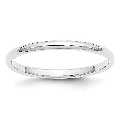Platinum - Alianza de boda semicircular, 2 mm, tamaño 5