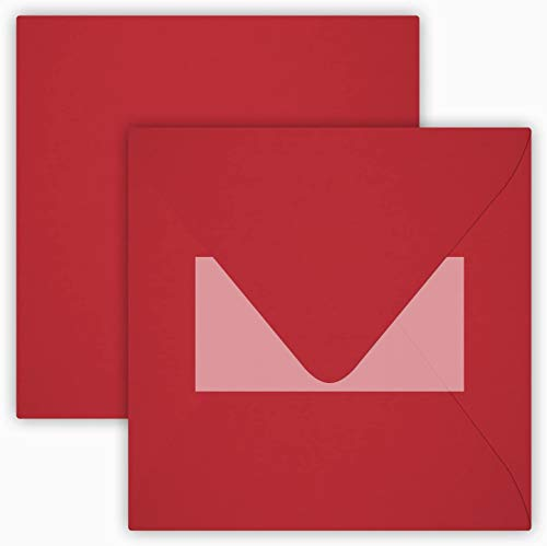 Lote de 25 sobres color rojo rosa, 15 x 15 cm , con solapa triangular autoadhesiva, no hay...