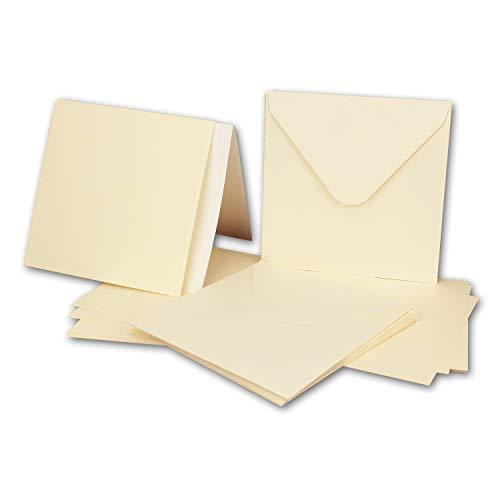 Juego de 50 tarjetas cuadradas con sobres y insertos, 13,5 x 13,5 cm, color crema/marfil,...
