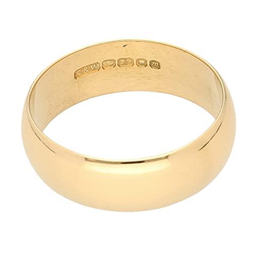 Jollys Jewellers Alianza de boda de oro amarillo de 22 quilates en forma de D para hombre...