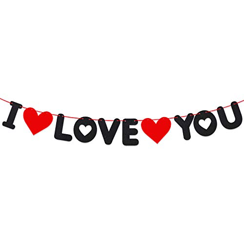 Guirnalda Fieltro I Love You Banner con 2 Corazones Banderín Te Quiero Decorativa...