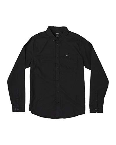 RVCA - Camisa de Vestir de Manga Larga para Hombre - Negro - X-Large
