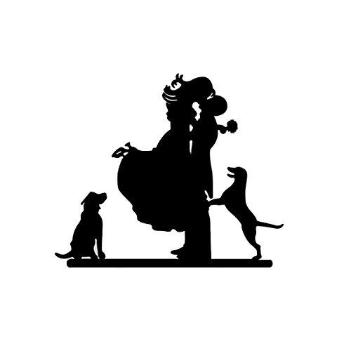 VORCOOL Novia y novio con silueta de perros para tartas de boda (negro)