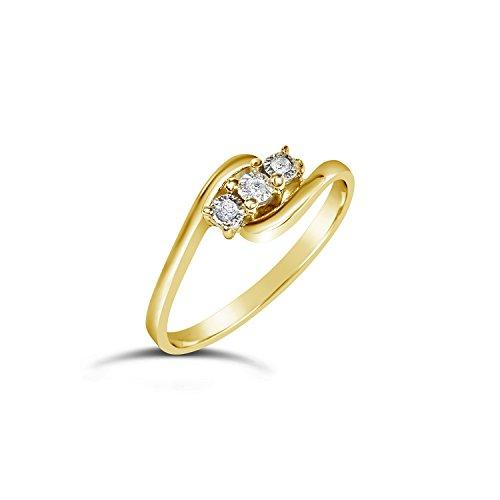 ❤️ Mille Amori Anillo Mujer - Oro Amarillo 9 Quilates 375/1000 - Diamantes 0.03...