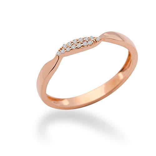MIORE MF9011RRR - Anillo de oro rosa de 9 quilates con diamante (.05), talla 18 (18,47 mm)