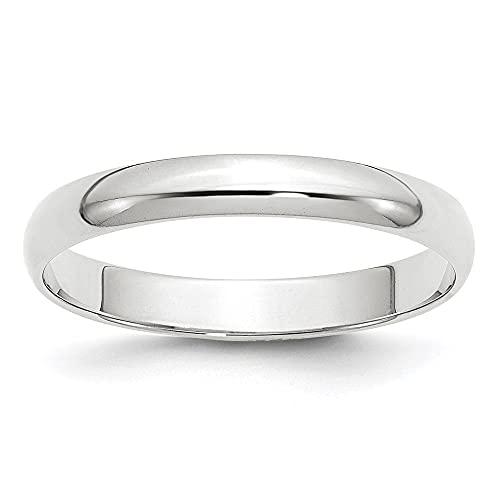 Diamond2Deal Anillo de boda de oro blanco de 14 quilates, 3 mm, LTW, medio redondo, para...