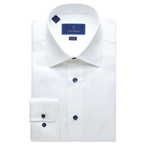 David Donahue - Camisa de Vestir para Hombre con microtextura, Color Blanco - Blanco - 41...