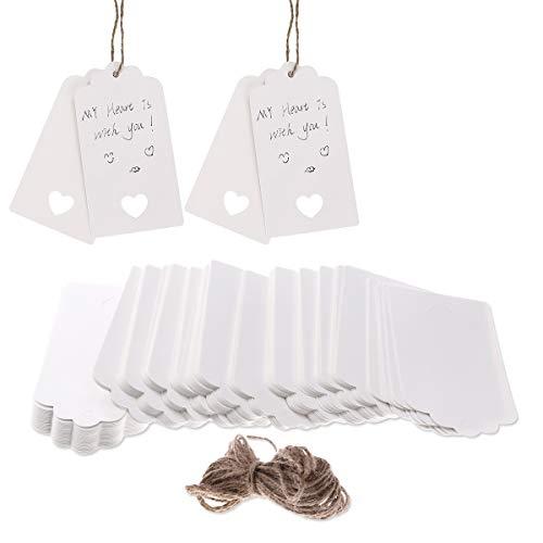 100PCS Etiquetas colgantes de papel Kraft Tarjetas en blanco Etiquetas de regalo del favor...