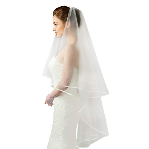 Amosfun Blanco doble cinta borde centro cascada nupcial velo de novia boda accesorios para...