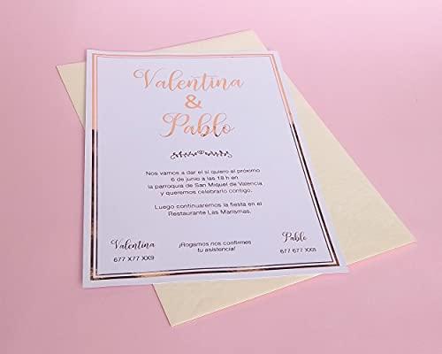 Invitaciones de Boda Caligráfica Oro Rosado