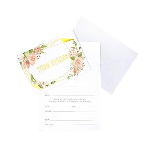 Neviti 775271 Geo Floral-Evening Invitations-10 Pack de invitaciones de boda,...