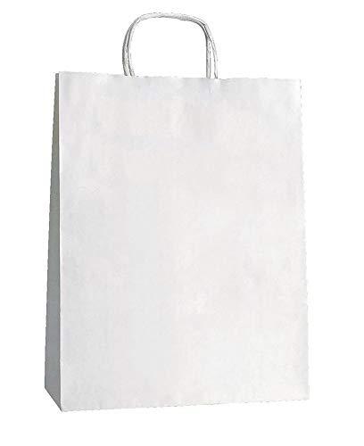 Yearol K05. 25 bolsas de papel kraft blancas con asas. Para comercio, tiendas, regalo,...