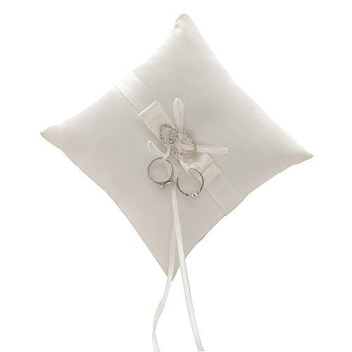 Awtlife Almohada de anillo de boda de doble corazón con diamantes de imitación de marfil...