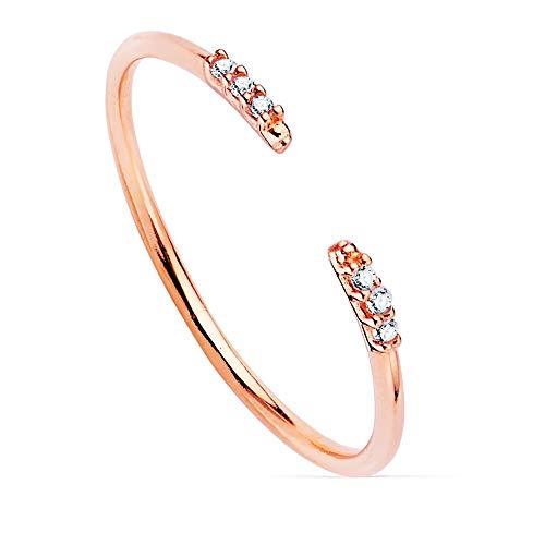 Sortija oro rosa 18k abierta lisa puntas 6 diamantes 0.030ct. cuerpo redondo