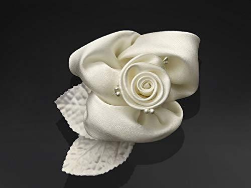 Decoración para coche de boda, 10 rosas de satén, color crema