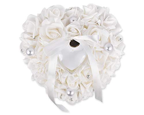 SCSpecial Anillo de bodas Ceremonia de almohada En forma de corazón Portador de anillo...