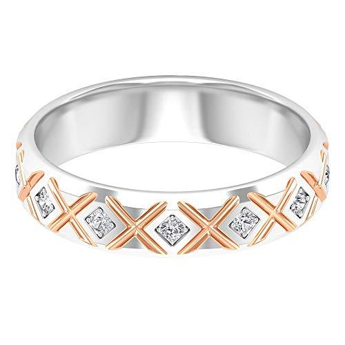 Anillo de boda de diamantes, unisex, anillo de cruz único, anillo de pareja de dos tonos,...