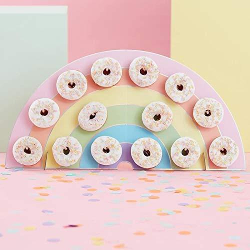 Ginger Ray Rainbow Kids Party Donut/Donut Wall - Soporte para Tarta de cumpleaños (14...