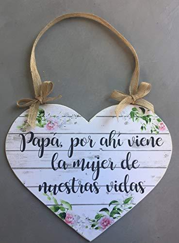Cartel aqui viene la novia para bodas con forma de corazón la mujer de nuestras vidas