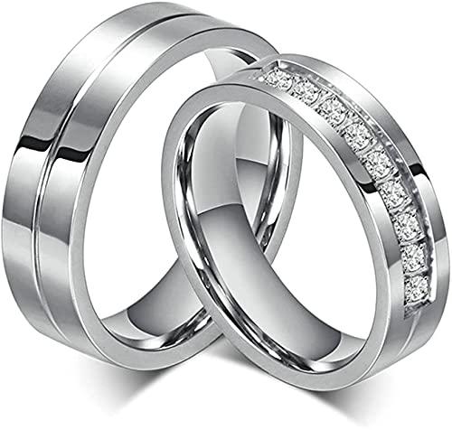 Bishilin Acero Inoxidable 6Mm Wedding Anillos de Compromiso Parejas Juego Mujeres Talla...