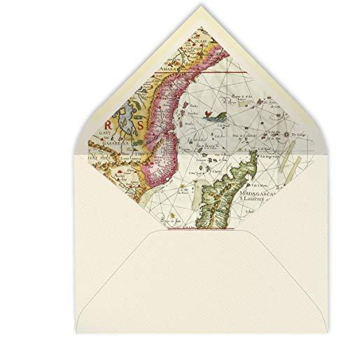 sobres forrados invitaciones de boda-VARIADOS: VINTAGE, FLORES, MAPAS, MAR.- 22,5x16,5 cm...