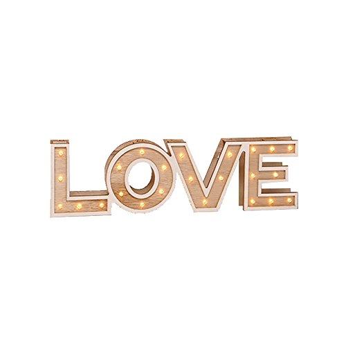 Bombilla Texto Madera LED blanco cálido Texto Home o Love Decoración Luz Iluminación,...