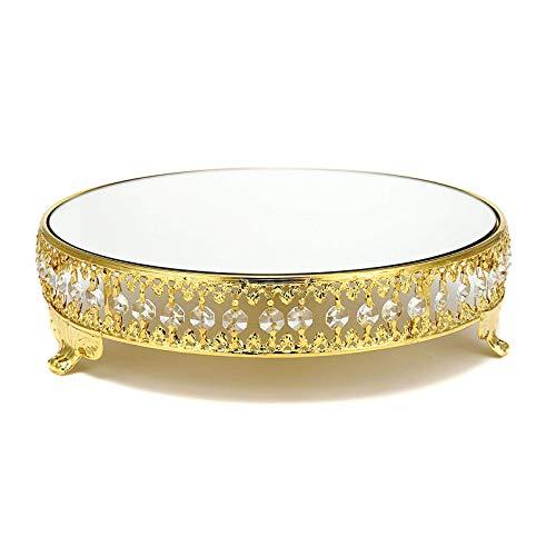 QFWM Soporte para tartas con tapa, soporte para postres de cristal redondo, espejo de...