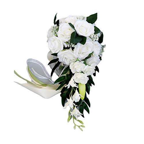 WT-YOGUET Romántico Boda Nupcial Cascada Ramo Flores de rosas artificiales con cinta