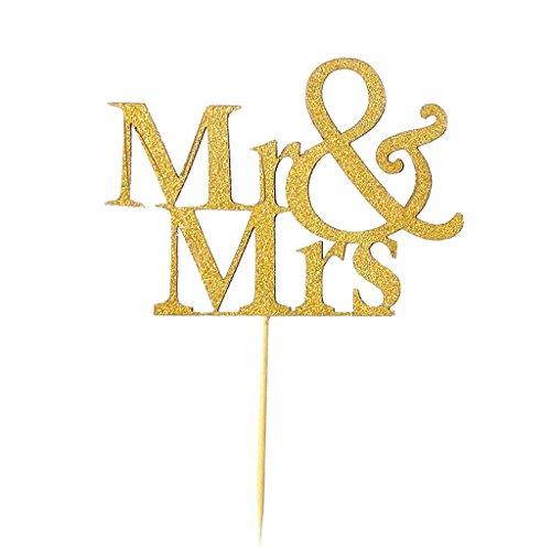 Inzopo - Juego de 20 adornos para tartas (dorados), diseño de Mr Mrs, color dorado