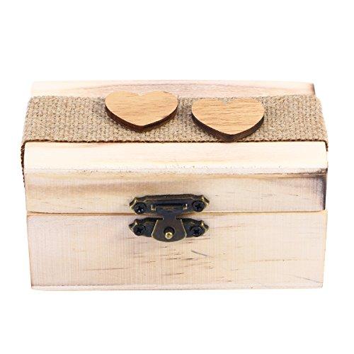 PRETYZOOM Caja de joyas de madera de Silcs, anillo de caja de joyería del corazón de...