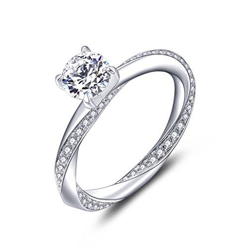 YL Anillo de compromiso Anillo de bodas Plata de ley 925 corte 6MM Circonita para Novia...