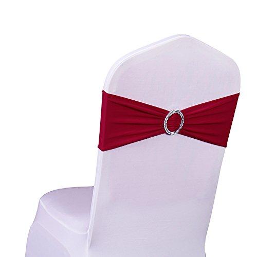 SINSSOWL 100 bandas elásticas para sillas de licra elásticas, lazos para bodas, fiestas,...