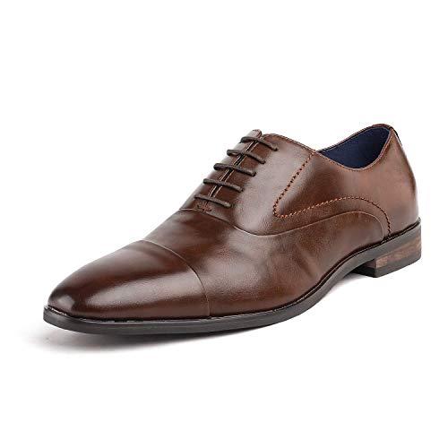 Bruno Marc Hutchingson_1 Zapatos de Cap Toe Oxford Vestir Clásico para Hombre Marrón...