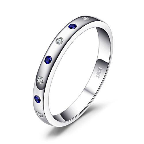 JewelryPalace Anillos Mujer Plata Zafiro creado, Anillos de Compromiso Plata de ley 925...